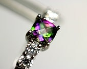 CLEARANCE  Pretty Genuine Mystic Topaz Square in an Accented Sterling Silver Setting