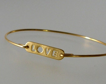 Gold LOVE Bangle Bracelet, Gold Bangle Bracelet, Wedding Bracelet, Bridesmaid Gift Ideas (276G)