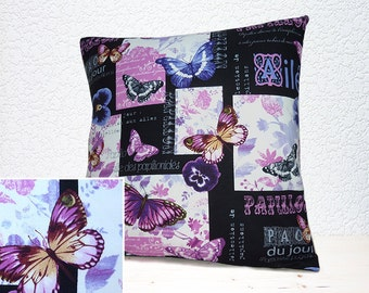 "Handmade 16""x16"" Cotton Cushion Pillow Cover in Papillon Jolie Collage Black/Pink/Mauve Butterfly/Floral Design Print"