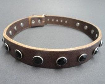 Choker Collar Brown Leather Choker Black Gem