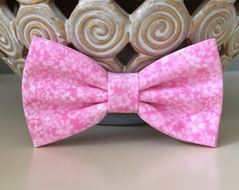 Dog Bow / Bow Tie - Pink w Small Flowers