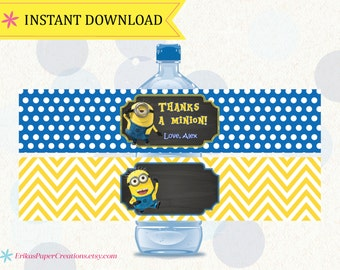 Minions Editable Water Bottle Labels PDF INSTANT DOWNLOAD