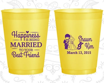 Happiness is Being Married to your Best Friend, Personalized Shatterproof Cups, Bride and Groom, Rehearsal Dinner, Yellow Frosted Cups (515)