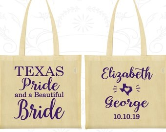Texas Pride and a Beautiful Bride, Promotional Screen Printed Tote, Texas Wedding Bags, Texas Bags, Texas Pride, Wedding Tote (237)