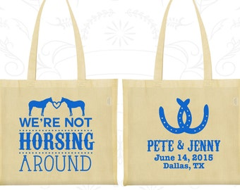 We are Not Horsing Around, Custom Canvas Tote Bags, Horse Shoe Bags, Barn Wedding Bags, Farm Bags, Horse Shoe, Tote Bag Personalized (342)