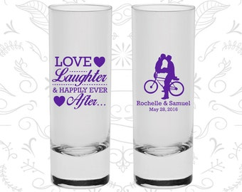 Love Laughter Shooters, Printed Tall Shot Glasses, Bicycle, Love Wedding, Romantic Wedding, Wedding Shooters (376)