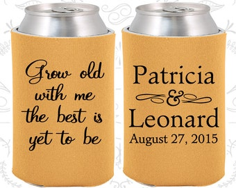 Grow Old with Me the best is yet to be, Wedding Reception, Romantic Wedding, Wedding Beer Can Coolers (203)