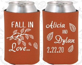 Fall In Love Wedding, Wedding Reception, Fall Wedding, Leaves, Wedding Beer Can Coolers (283)