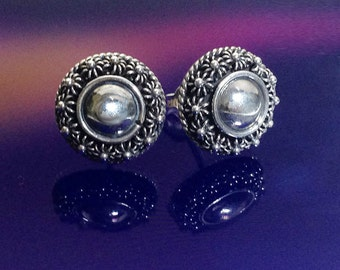 925 Solid Sterling Silver BALL WITH FLOWERS Earrings/Stud Earrings/Oxidized/Flower Jewelry- Stud