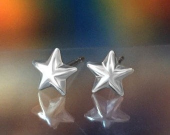 925 Solid Sterling Silver STAR #1 Earrings- Small- Oxidized- Studs