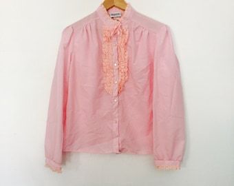 Vintage Pink Ruffled Blouse