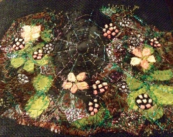 Hand and machine embroidered textile art - Blackberries and Spiders Web