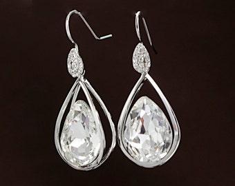 Swarovski crystal earrings ,Dangle earrings, Silver,  Wedding earrings, Chandelier earrings Are deco