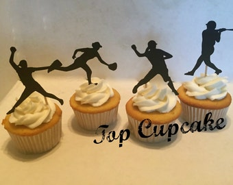 Softball Cupcake Toppers -12
