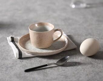 Japanese Pottery Tea Cup Set | handmade ceramic cup | beige pink stoneware set