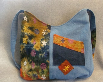 Hippie purse with tie dyed accents