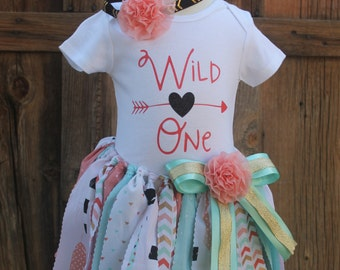 Wild One first birthday girls outfit tutu