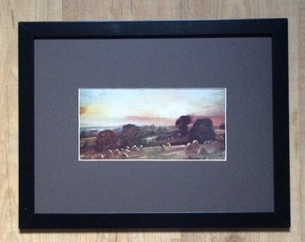 "Framed and Mounted Hayfield Sunset Print by John Constable 16"" x 12"""