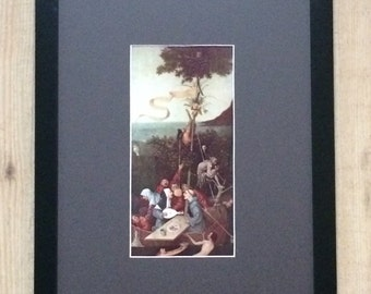 "Framed and Mounted The Ship of Fools Print by Hieronymus Bosch 16"" x 12"""