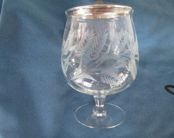 Vintage EPGA Etched Ferns With Covered Compote Marked Candy Dish Clear Collectible Glassware Brandy Glass