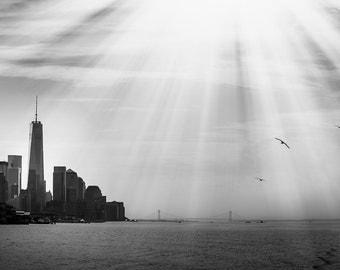 "New York City Art, Freedom Tower, Black and White Photography, One World Trade, NYC Skyline, NY Wall Decor,  New York Decor ""Free"""