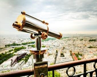 "Paris Art, Aerial Paris, Rooftops of Paris, Photography, Eiffel Tower View, Paris Skyline, Eiffel Tower Print, Paris Wall - ""City of Light"""