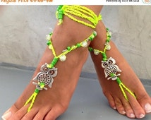 PROMO SALE Barefoot Sandals Barefoot Beach Jewelry red beads tibetan silver, Hippie Sandals Foot Jewelry Toe Thoe