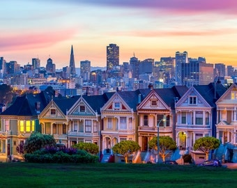 San Francisco Skyline - San Francisco Art - San Francisco Print of the Famous Full House Houses at Alamo Square - Victorian Houses