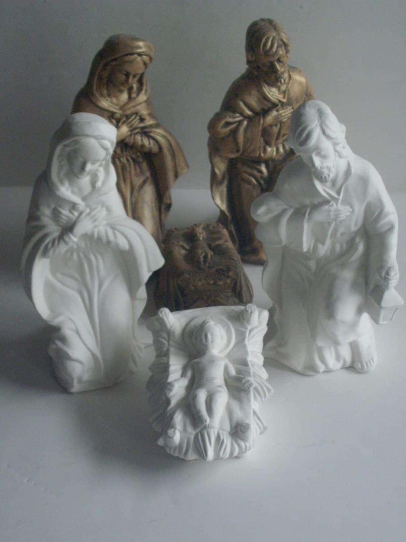 Unpainted ceramic to paint nativity diy ready to paint for Bizcochos de ceramica