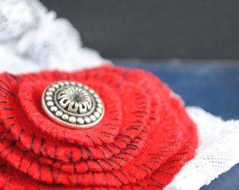 Rustic Hand Stitched Red Baby Headband
