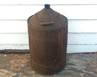 primitive wood kerosene can ~ 5 gallon ~ antique railroad kerosene canister ~ oil can ~ railroad can ~ metal can ~ wood wrapped