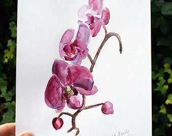 Orchid Watercolor Painting - original painting - Wall Decor - Pink orchid Art - illustration - zen art - orchids branch illustration