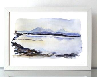 Scotland watercolor painting - landscape print - lake and mountain - lilac blue - Scottish art - Scottisch mountains Coast watercolor sunset