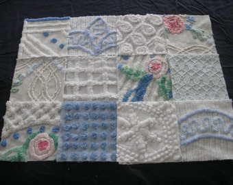 """18 Vintage Chenille Bedspread Fabric Squares 6"""" x 6"""" Blues...(g97)"""