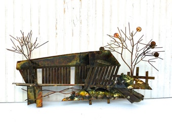 Large Vintage Enesco Imports Art Metal Wall Hanging Sculpture Country Covered Bridge From the Groovy Era of Curtis Jere 70's