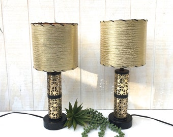 Vintage Pair of Mid-Century Dresser Lamps, Black and Gold Desk Lamps