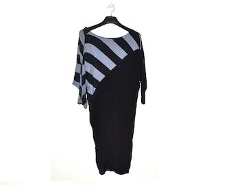 80s Batwing Dress Black Gray Grey Striped Vintage 1980s Medium M