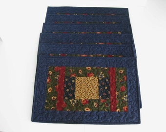 Quilted Placemats, Blue Handmade Placemats