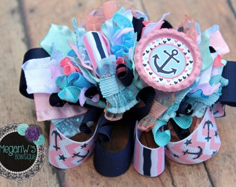 Hair bow ,Anchors Funky Loopy Bow, french barrette, bow,