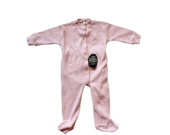 FRENCH vintage 70's / for babys / pajamas / overalls / pink terrycloth / new old stock / size 6 months
