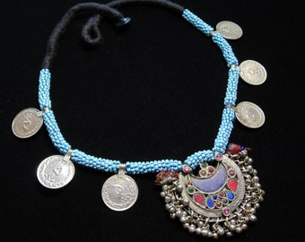 N4163- Vintage Tribal Kuchi Coin Necklace - Afghani Ethnic Boho Statement Necklace