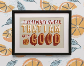 """Harry Potter """"I solemnly Swear I am Up To No Good"""" Marauders Map Poster Print"""