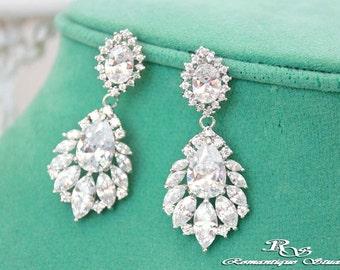 Cubic zirconia earrings CZ bridal earrings wedding jewelry CZ wedding earrings Swarovski crystal earrings wedding accessories CZ0100
