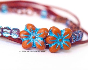 Bohemian Bracelet, Boho Wrap Bracelet, Blue Orange Flower 3x Leather Wrap Bracelet (6-7 inch)