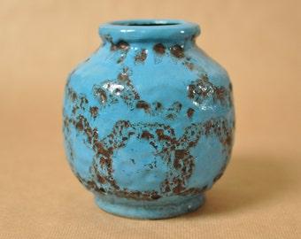 Bay Keramik Fat Lava vase - West German Pottery - blue glaze 563-14 - 1970s