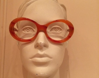 oversize sunglasses, Butterscotch, orange, tangerine vintage woman eyeframe, NOS,deadstock