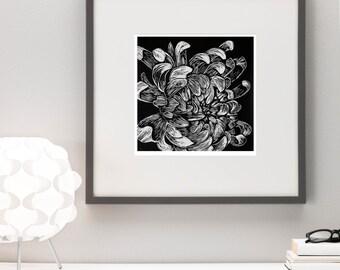 Chrysanthemum flower, linocut print