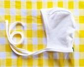 Bonnet, Solid White , Knit reversible bonnet, pilot cap