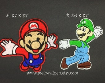 Super Mario iron on patch,super Mario patch, super mario Applique, Luigi iron on patch, Luigi patch, Luigi Applique