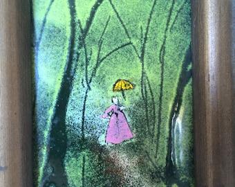 Signed Enamel on Copper Woman in Pink Dress